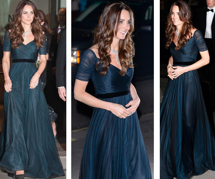 Attending a gala at the National Portrait Gallery in a navy blue, chiffon Jenny Packham gown, complete with black velvet belt, Kate could have been mistaken for an old-Hollywood screen siren.