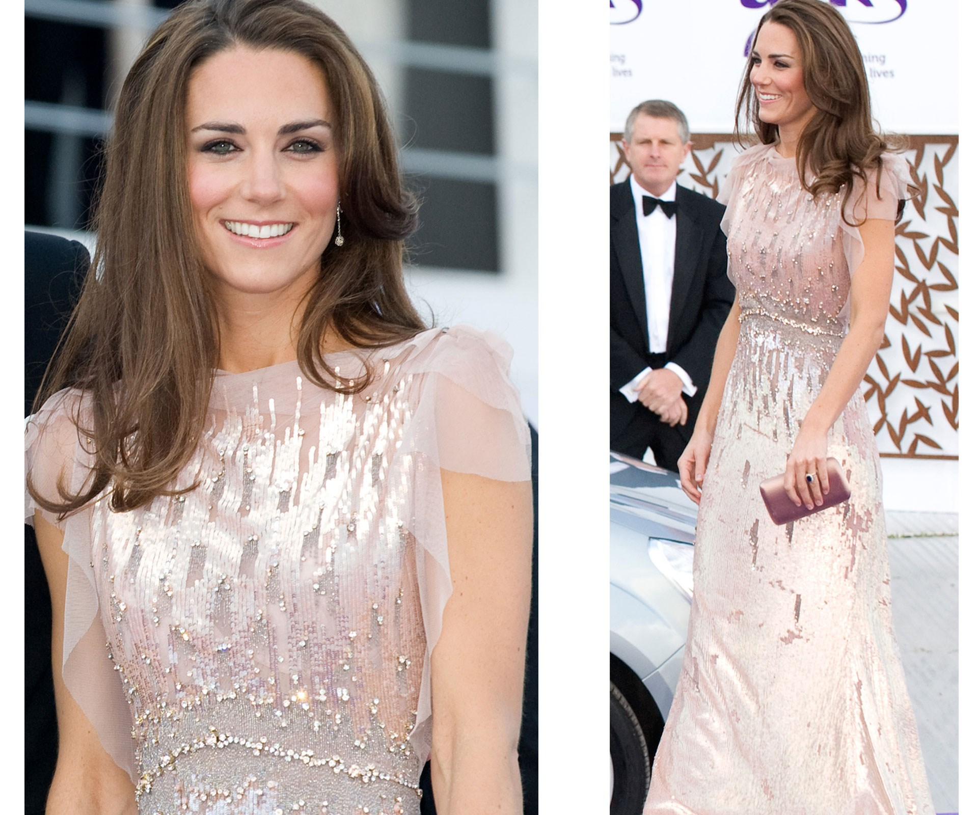 Kate looked radiant in a pale pink, sequin Jenny Packham dress at the ARK Gala dinner at [Kensington Palace](http://www.nowtolove.com.au/royals/british-royal-family/prince-william-and-duchess-catherine-confirm-london-move-33500) in 2011. She wore is again in 2016 and we think it's about time it got another run!
