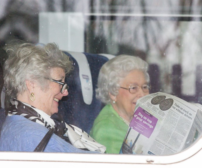 No Prince Philip on this trip - but the mother-of-four was accompanied by a friend.