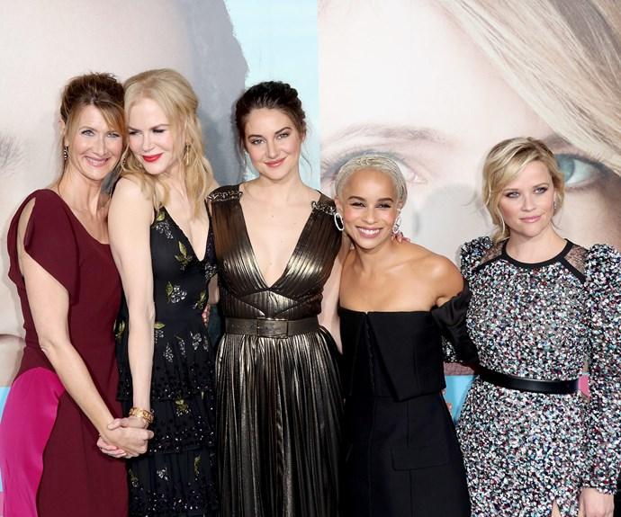 Laura Dern, Nicole Kidman, Shailene Woodley, Zoe Kravitz, and Reese Witherspoon cuddle up.