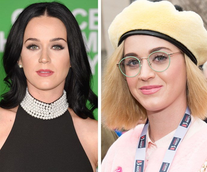 In January, Katy Perry switched up her glossy chocolate hair for an angular blonde, chin-length bob. Why not hey?