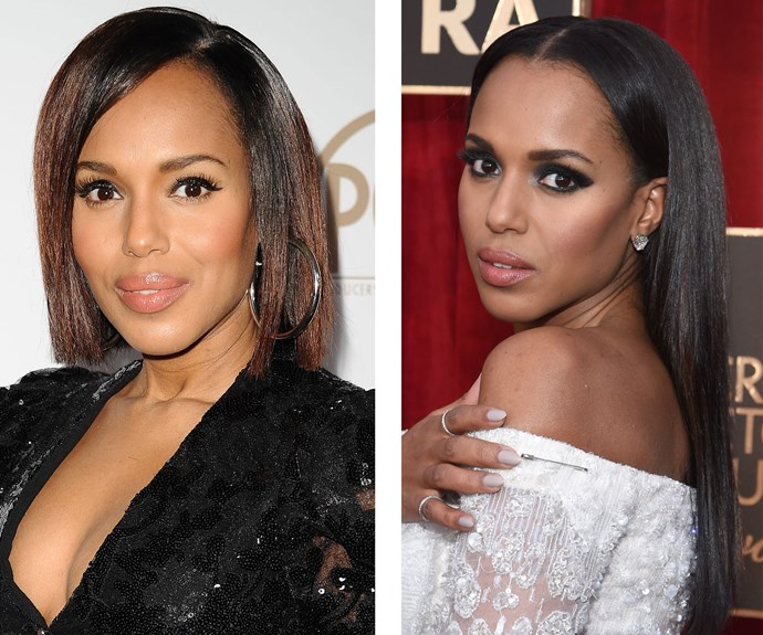 Kerry Washington knows a hair trick or two! The actress was spotted with an auburn-coloured, sleek and straight style in January, but the next day her glossy locks were darker and longer. Can't keep up.