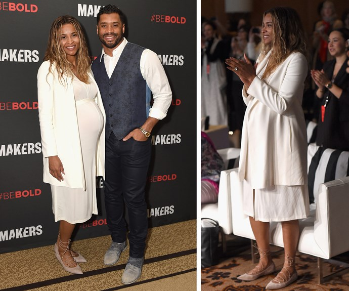 Pregnant Ciara went full Alycia Keys on the red carpet recently. Showing of her baby bump in an all-white-everything ensemble, the 31-year-old eschewed makeup and let her glow speak for itself.