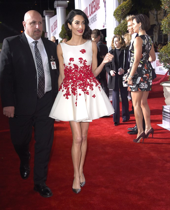 That's it, security for Amal at the February 2016 premiere of *Hail Caesar!*. George, you can see yourself in can't you buddy?