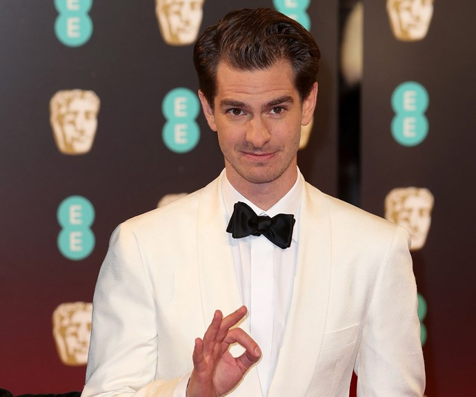 Andrew Garfield looks ace in a white blazer and black bow-tie.