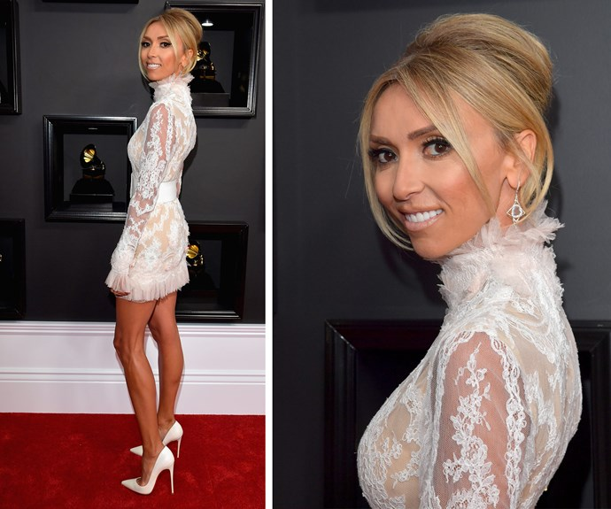 Before she took to hosting duties, *E!* star Giuliana Rancic worked the red carpet in this flirty Celia Kritharioti dress.