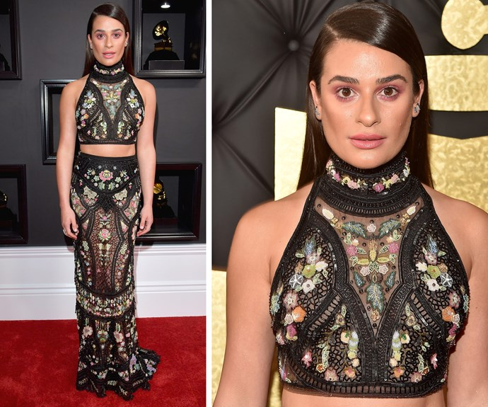 Lea Michele opted for an embellished halter-top and a skin-tight skirt.