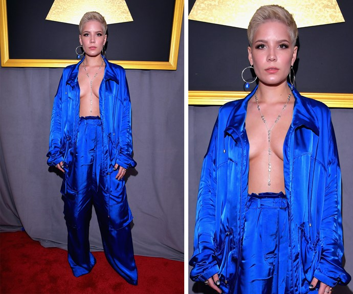 """Halsey's channels [her inner JLo,](http://www.nowtolove.com.au/fashion/red-carpet/jennifer-lopez-versace-grammys-dress-34019