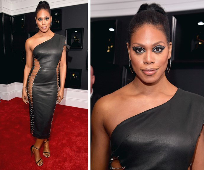 *OITNB* favourite Laverne Cox looks good in leather.