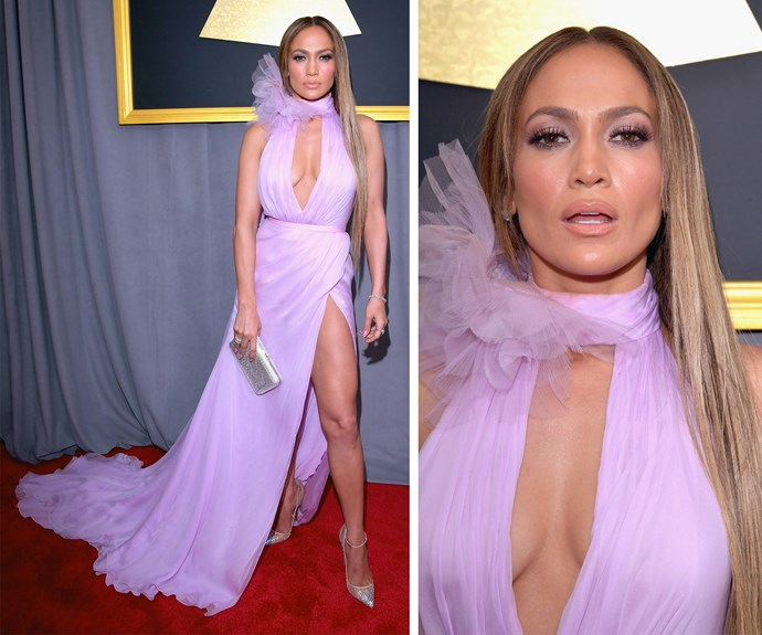 """Jennifer Lopez is a total knock-out in this lilac Ralph & Russo number. Speaking of her new beau Drake, she told *E!*, """"I love drake, he's so brilliant and talented! He's amazing."""""""