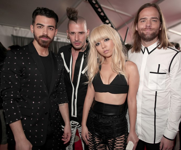 DNCE, which is made up of Joe Jonas, Jack Lawless, Cole Whittle, and JinJoo Lee, strike a pose.