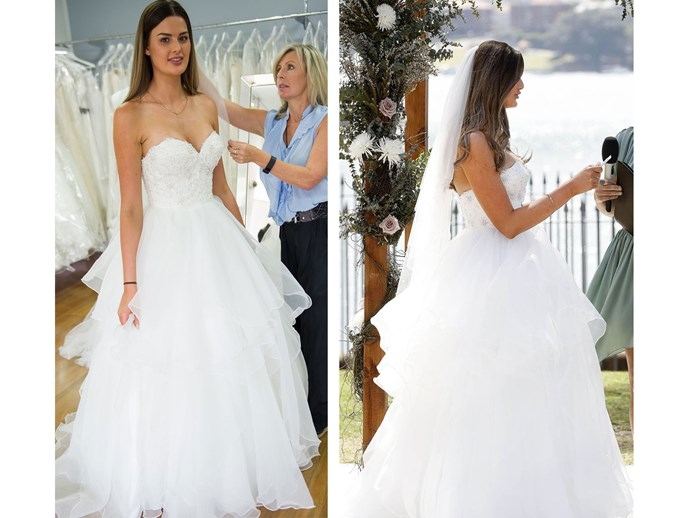 **2.** Jilted Cheryl wore a dress made from so much tulle, it seemed there was none left in Australia for the other 9 brides (aside from the twins who pinched a bit for their hems). With sweetheart neckline, fitted bodice and full-to-the-brim skirt, she looked like a real-life version of a wedding cake topper. We can't decide whether we love this and are jealous we couldn't be a princess for a day, or if this was just overkill. Oh who are we kidding? This was a knockout.