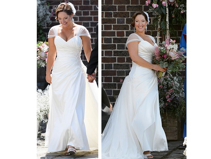 **5.** Susan walked down the aisle in a satin gown with sheer arm overlays and ruched bodice. It was a traditional choice but with a curvy figure (the girl has boobs, okay?), it was a good one that earnt a tick of approval from us.