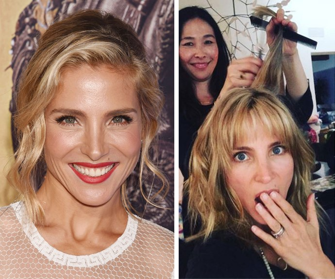 """Elsa Pataky got a fresh cut and fringe from celebrity hairstylist Sue Seo. """"New haircut with my favourite @sseohair,"""" she captioned the Insta snap. This isn't the first time Elsa's had a fringe but it's certainly the first time she's styled it like this."""