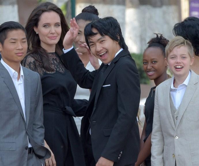Pax, Angelina Jolie, Maddox, Zahara, and Shiloh Jolie-Pitt