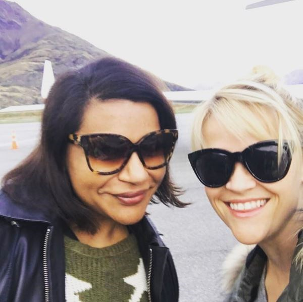 "Reese Witherspoon is in New Zealand right now to film a new movie with co-stars Mindy Kaling and Oprah and while on location she took this Insta snap: ""Watch out New Zealand! We're heeeeeerrrree & Ready to: **1.** Hike these mtns, **2.** Snuggle some sheep, **3.** Meet awesome Kiwis,"" she captioned the pic. Amazing."