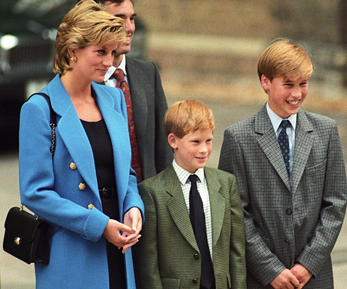 A young Prince Harry wears a classic olive-hued tweed jacket.