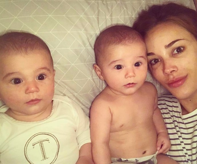 """Rebecca Judd has shared an utterly adorable new look at twin boys Tom and Darcy, who were born in September last year. """"Early morning snuggles with my babes- looking very identical today."""""""