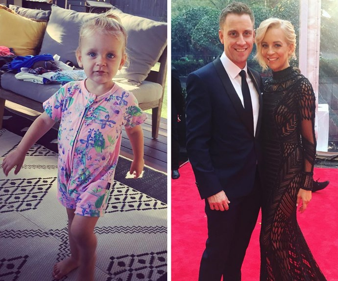 """Carrie Bickmore's partner Chris Walker shared this delightful snap of his """"little possum"""" Evie! Too cute!"""