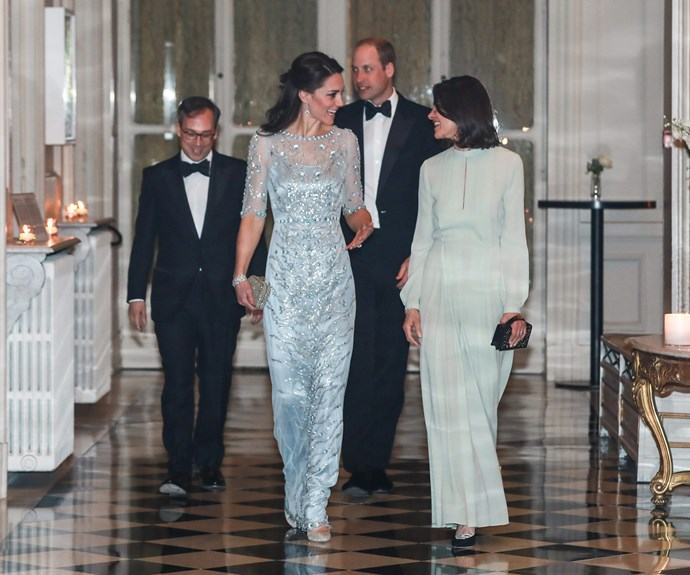 The 34-year-old stunned in breathtaking pale blue Jenny Packham dress.