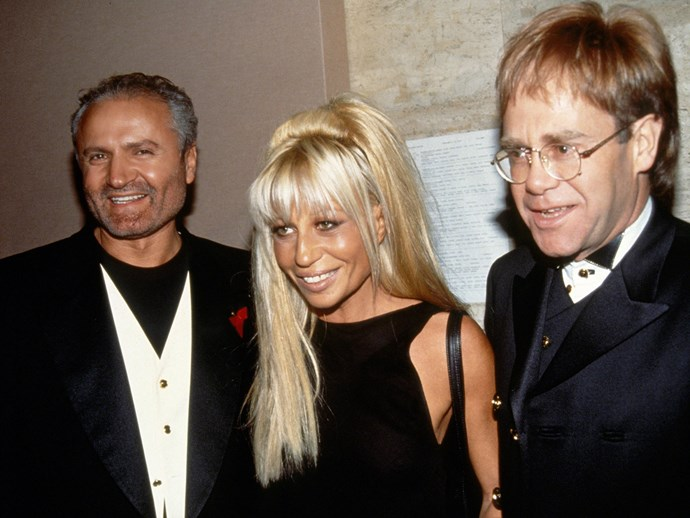 Gianni Versace, Donatella Versace and close friend Elton John in 1993.