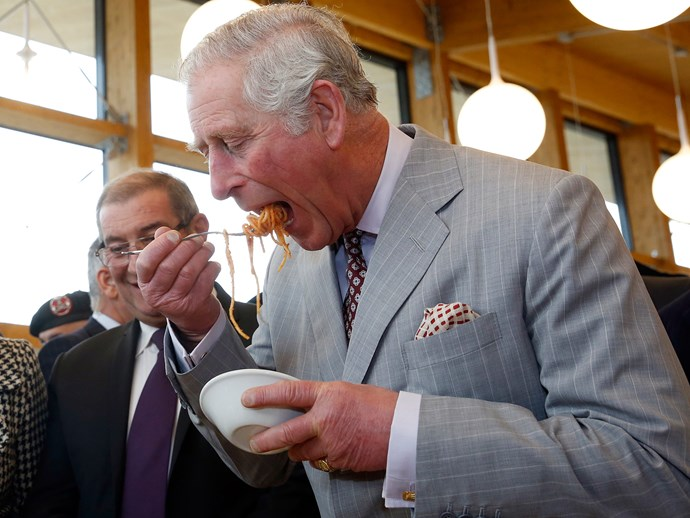 The Prince of Wales tucks into a bowl of fresh spaghetti.