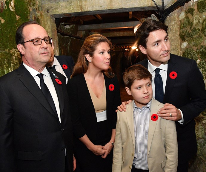 Justin Trudeau, who made a speech at the event, was shown around the trenches with wife Sophie and their son Xavier.