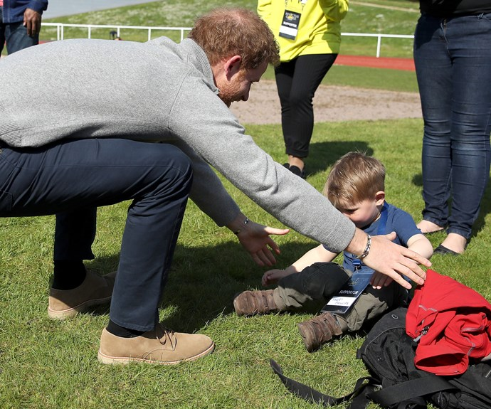 But it was his meeting with fellow spectator Harry Phillips that had the Prince grinning.
