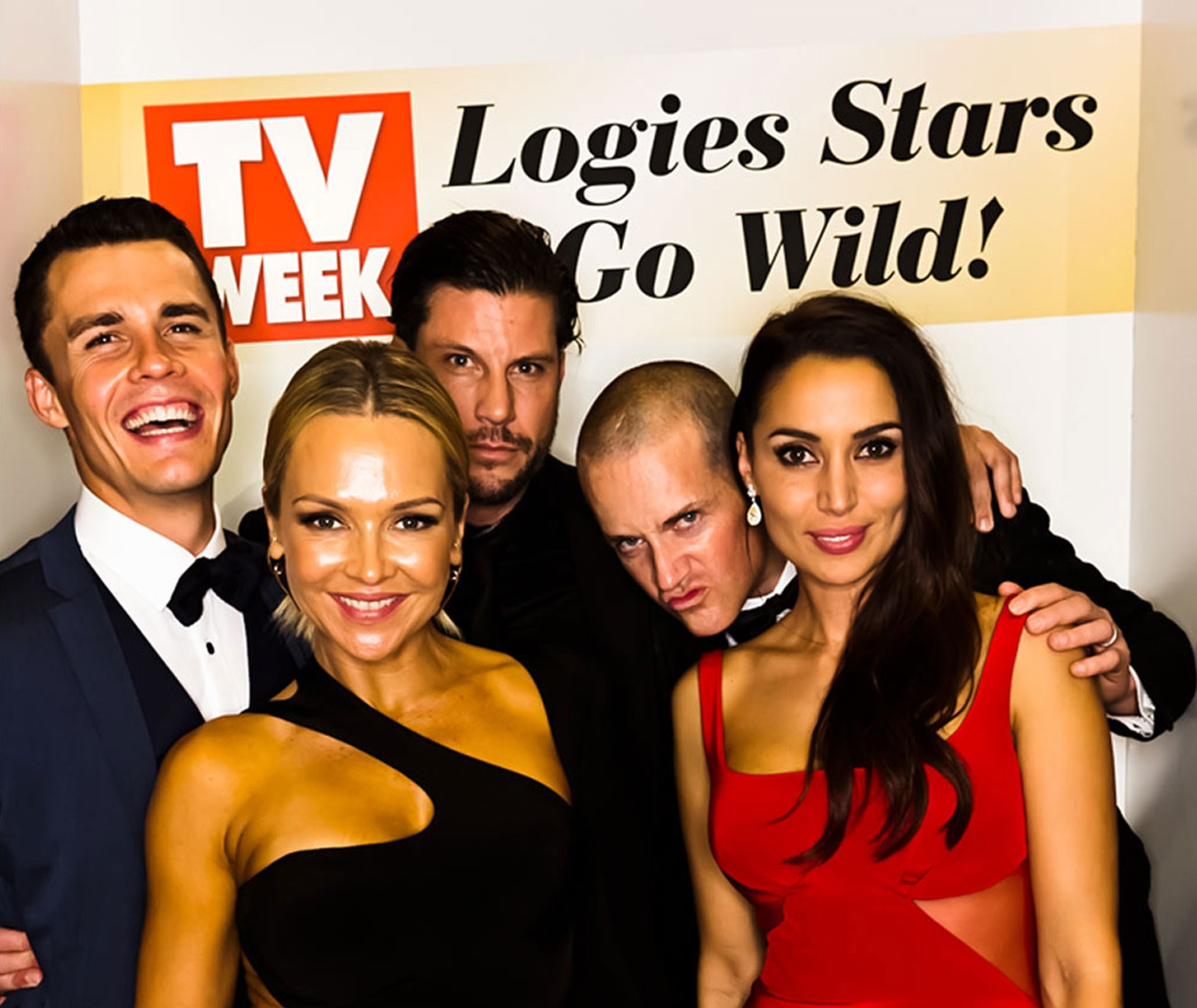 *Neighbours* stars Andrew Morley and Carla Bonner with *The Bachelor's* Sam Wood and Snezana Markoski and Jules Lund.