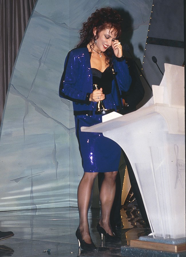 Georgie Parker dazzled in blue sequins at the 1993 Logie Awards.