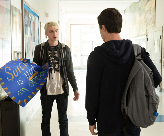 Alex, played by Miles Heizer, and Clay.