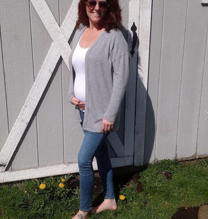 Krista is now five months pregnant, despite being told she was infertile. Image: Facebook/Krista Schwab.