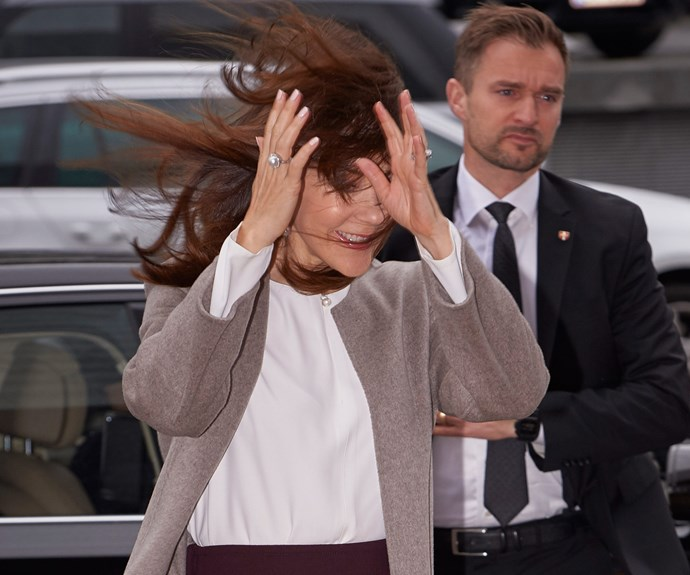 Our favourite Aussie Princess got swept away, quite literally, as she attended an official engagement.