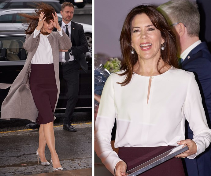 Regaining her composure, with a side of giggles, Princess Mary looked stunning as she attended the official opening of Research Day and Research Communication Prize 2017 in Experimentarium, Copenhagen.