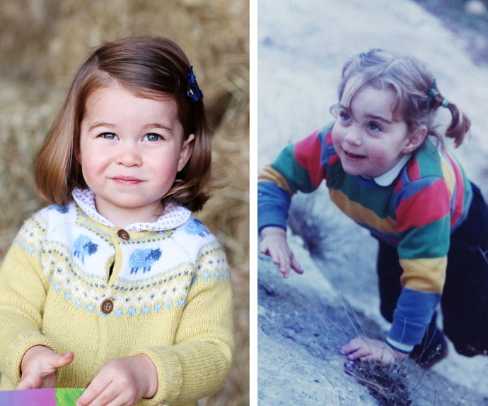 It looks like the two-year-old has mum Catherine's (right) brunette hair and big doe eyes.