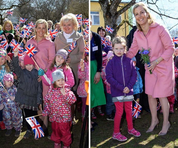 Sophie, the Countess of Wessex visited the Palliponn Preschool for children with special needs in Tallinn, Estonia - and the students couldn't have been more excited by their brush with royalty.