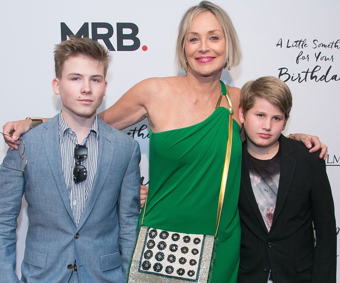 Sharon Stone is pictured here with two of her three sons,  Joseph Bronstein and Laird Vonne Stone. Her boys are all grown up but Sharon hasn't aged a day!