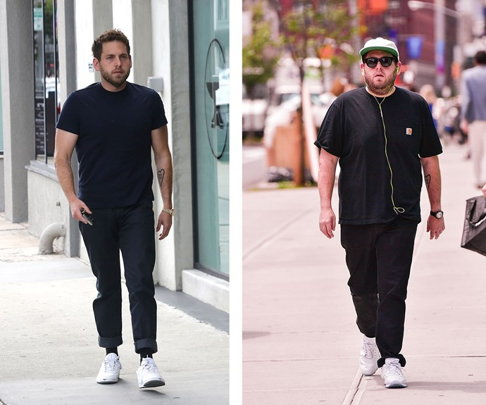 "What a difference one year can make! After [reportedly](http://www.dailymail.co.uk/tvshowbiz/article-4596616/Jonah-Hill-continues-slimmed-shape.html|target=""_blank""
