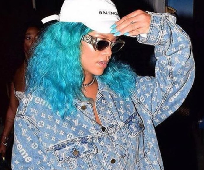 """Never one to shy away from making a serious style statement, Rihanna has stepped out with turquoise [tresses](http://www.nowtolove.com.au/beauty