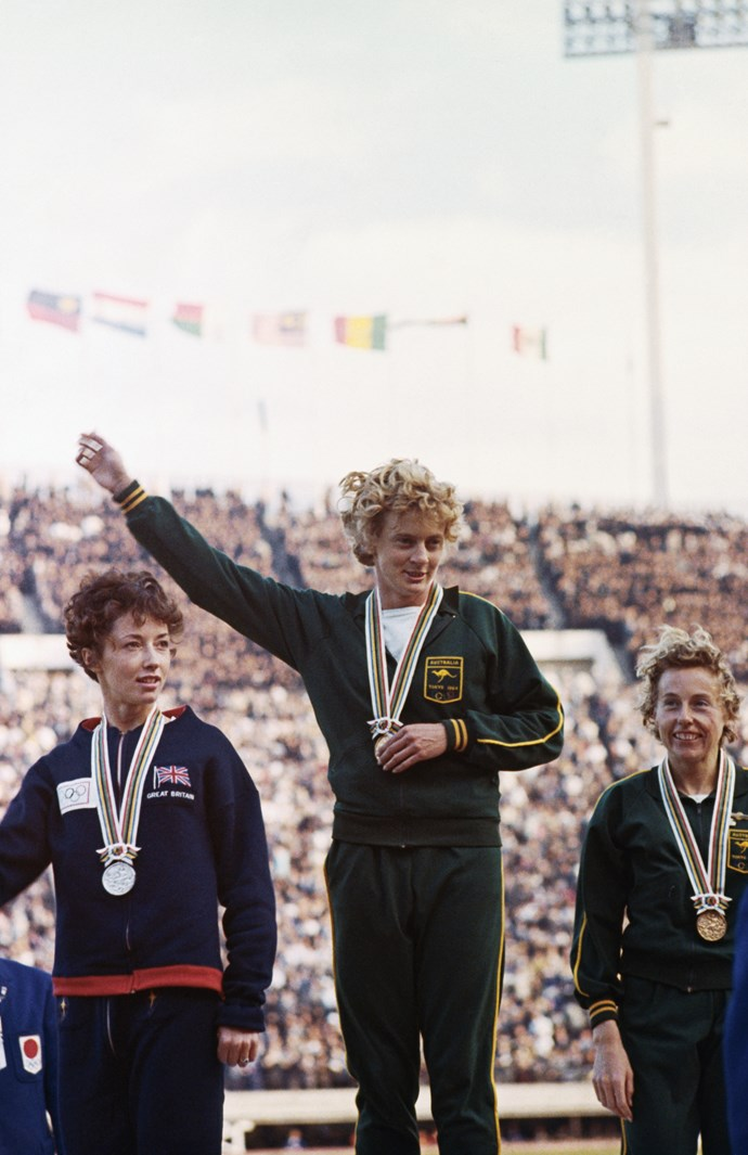 Betty with her gold at the 1964 Tokyo Olympics
