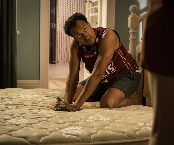 AJ trying to salvage the mattress.