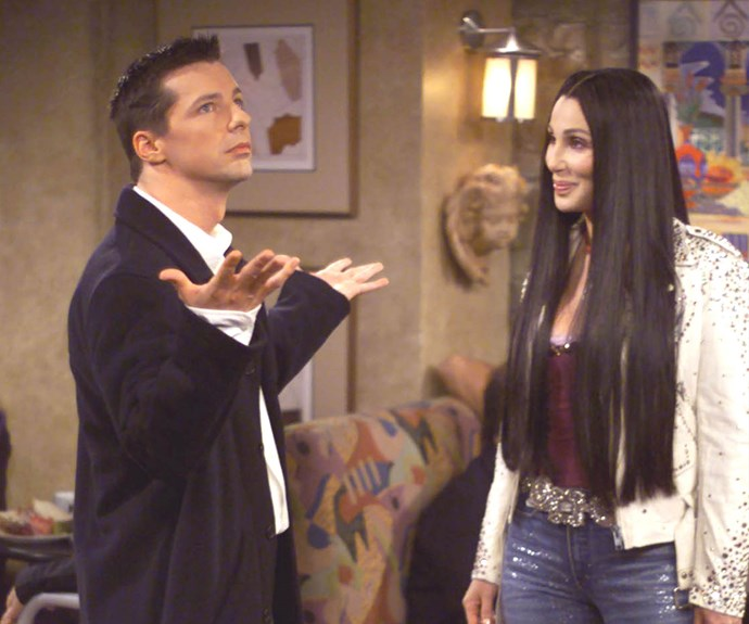 **Cher as herself (Appearance: S3, E7):** In what is possibly the best cameo of all time, Cher made an appearance in season three of *Will & Grace* when she approached Jack in a restaurant. Jack was a huge fan of Cher, even carrying around a Cher doll with him, but he was unconvinced that Cher was in fact Cher. Jack calls Cher a drag queen and tells her to work on her Cher impersonation.