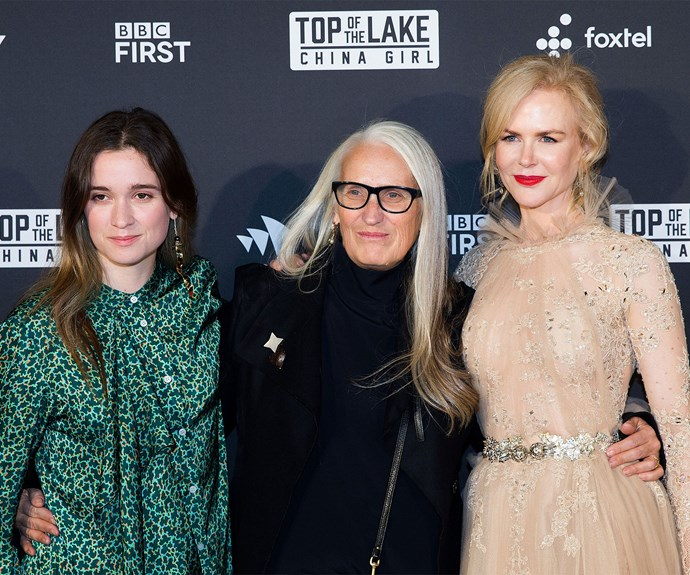 Alice Englert with her mother Jane Campion, who wrote the series, and Nicole Kidman at the Sydney premiere of *Top Of The Lake: China Girl*.