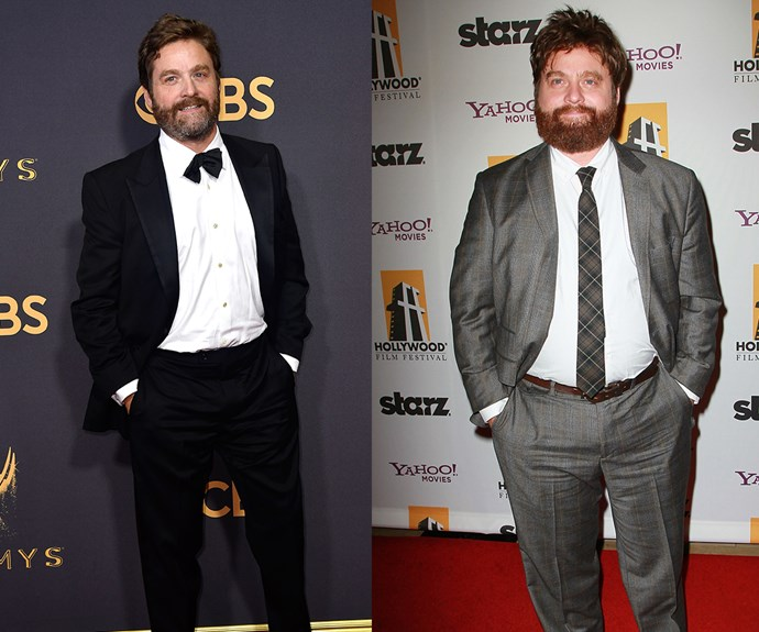 Zach Galifianakis, is that you? *The Hangover* star cut a svelte figure at the 2017 Emms red carpet, something he puts down to swapping alcohol for long walks.We're sure the Wolf Pack are breathing a deep sigh of relief about that!