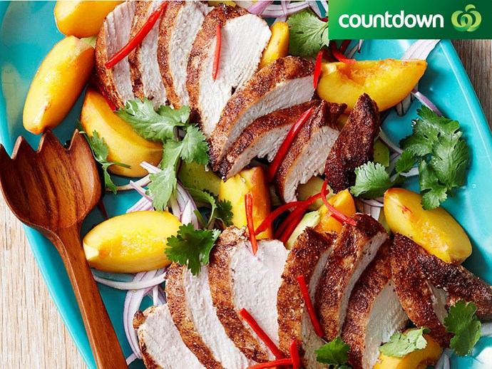 "Give this simple [curried chicken and peach salad](http://www.foodtolove.co.nz/recipes/curried-chicken-and-peach-salad-13195|target=""_blank"") a go."