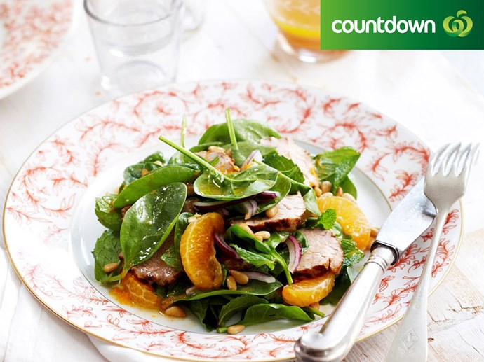 """Get your tasty and healthy fix with this [pork and mandarin salad](http://www.foodtolove.co.nz/recipes/pork-and-mandarin-salad-13648 target=""""_blank"""")"""