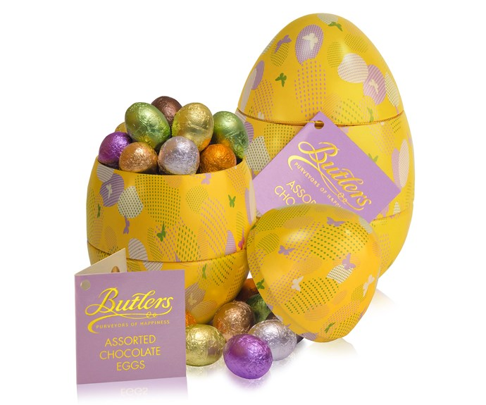 [**Butlers egg tin $30**](http://www.butlerschocolates.com/nz/shop-chocolate-gifts/easter/butlers-egg-tin.html) This colourful case encloses an assortment of chocolate eggs in milk, dark and white chocolate with caramel, lemon truffle and praline flavours inside.