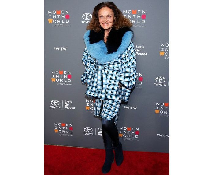 **Diane von Furstenberg** Woman on a mission Diane von Furstenberg leaves us looking forward to winter in a graphic pattern from her latest collection teamed with faux-fur at the Women in the World Summit.