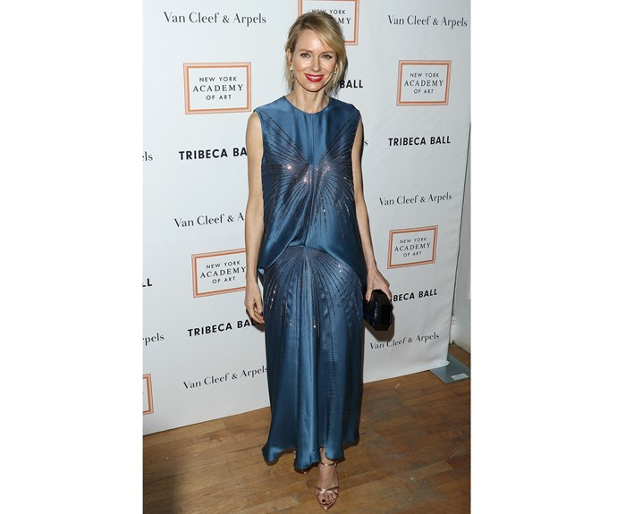 Naomi Watts was the belle of the Art Tribeca Ball in a blue Valentino gown with drop-waist detailing and a touch of sparkle.
