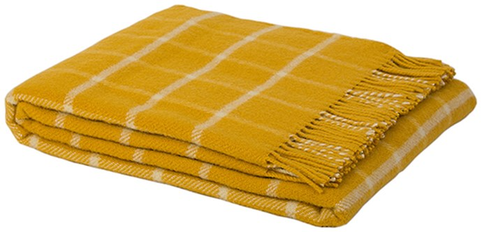 Throw, $220, by [Warwick Fabrics](https://www.warwick.co.nz/shop/All+Collections/Shetland+Throws/LAXO+%28THROW%29+YELLOW.html).